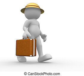 Briefcase - 3d people - human character with briefcase. 3d...
