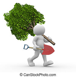 Green tree and shovel - 3d people - human character with a...