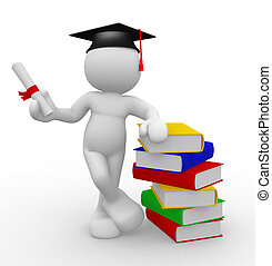 Graduation and books - 3d people - human character with...