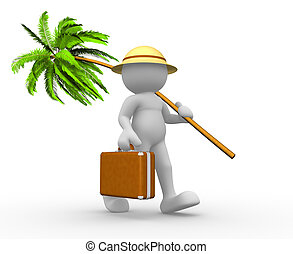 Briefcase and palm- tree - 3d people - human character-...