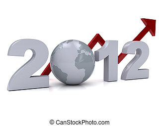 New Year 2012 concept over white. 3d rendered image