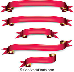 Vector red ribbons set - Set of the detailed red ribbons...