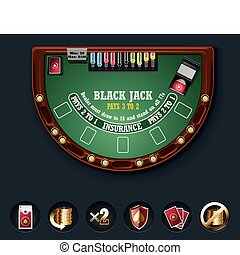 Vector blackjack table layout - Detailed black jack casino...