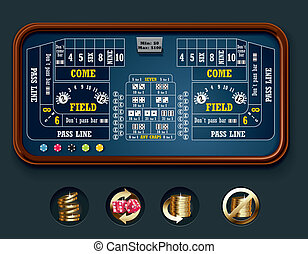 Vector craps table layout (big) - Detailed craps casino...