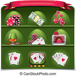 Vector gambling icon set P1 g - Set of the icons...