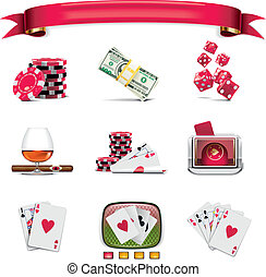 Vector gambling icon set P1w - Set of the icons representing...