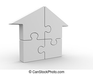 Puzzle pieces arranged in a house shape - 3d render