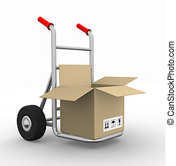 Hand truck - Open box on hand truck - 3d render illustration