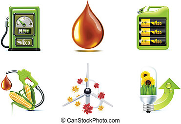 Vector ecology icon set P1 - Set of the green fuel and...