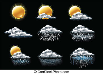 Vector weather forecast icons P1 - Set of the weather...