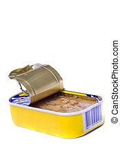 tuna tin can - Close view of tuna tin can isolated on a...