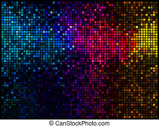 Multicolor abstract lights disco background Square pixel...