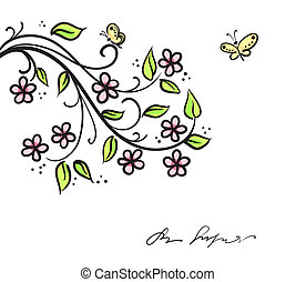 Abstract flowers background with branche of tree