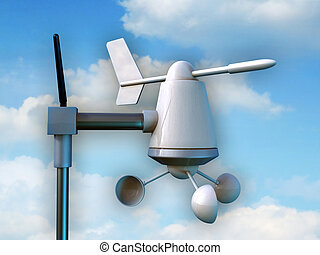 Anemometer - Wireless anemometer measuring intensity and...
