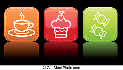 Food icon color set