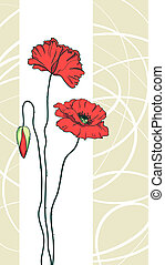 Red poppies floral background