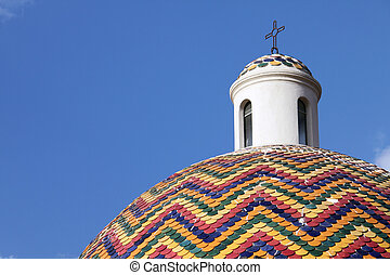 Coulored roof - San Pietro's church, Olbia