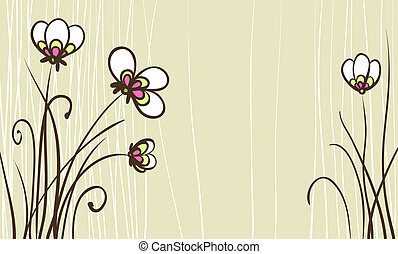 card with stylized flowers for birthday text