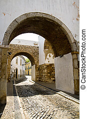 arc of history - View of the historical area of Faro city...