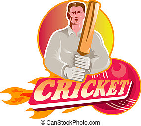 cricket player batsman with ball and bat front view -...