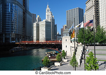 Chicago city center at sunny day