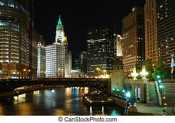 Chicago at night, IL, USA, 2007