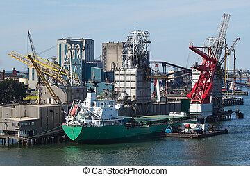 Grain elevator with terminal, cranes and ship - Grain...