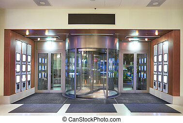 Hotel entrance - Entrance to hotel lobby with revolving...