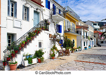 Traditional houses of Parga city, Epirus, North Greece