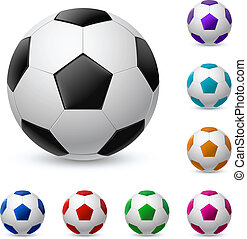 Realistic soccer ball in different colors. Illustration on...