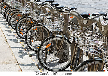 Group of bicycles in the row