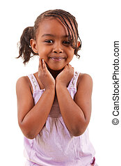 cute black girl smiling - cute little african girl smiling...