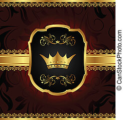 golden vintage frame with crown