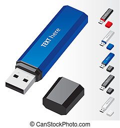USB Flash Drive - Blue USB Flash Drive vector icons