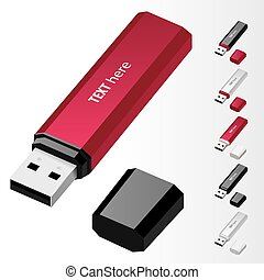 USB Flash Drive - Crimson USB Flash Drive vector icons