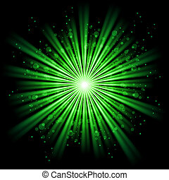 Abstract light - Green bursting star isolated in black space