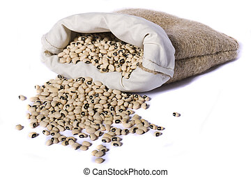 sack of black eyed peas beans - View of a sack of black eyed...