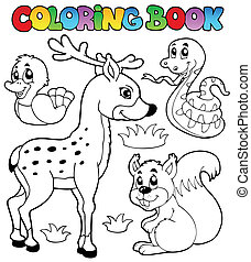 Coloring book with forest animals 2 - vector illustration
