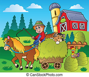 Country scene with red barn 9 - vector illustration