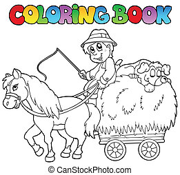 Coloring book with cart and farmer - vector illustration