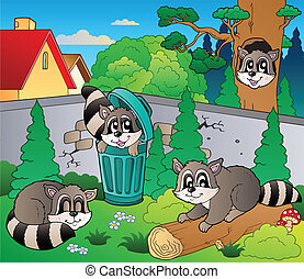 Backyard with cute raccoons - vector illustration.