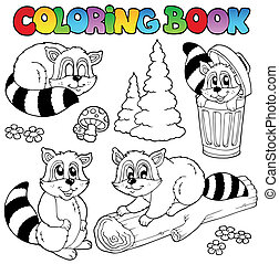Coloring book with cute raccoons - vector illustration