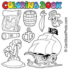 Coloring book with pirate objects - vector illustration.