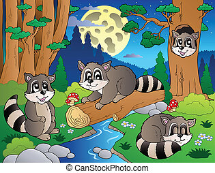 Forest scene with various animals 8 - vector illustration