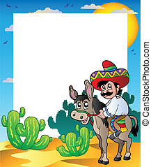 Frame with Mexican riding donkey - vector illustration.