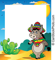 Frame with Mexican donkey - vector illustration.