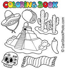 Coloring book with Mexican theme 1 - vector illustration