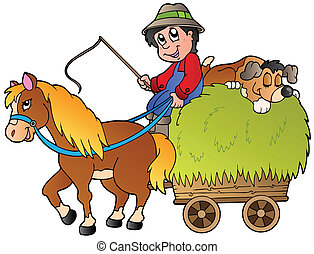 Hay cart with cartoon farmer - vector illustration.