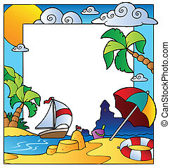 Frame with summertime theme 1 - vector illustration.