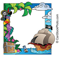 Frame with sea and pirate theme 4 - vector illustration